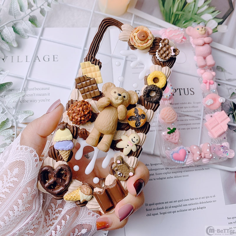 DIY case for Samsung Note10 plus 3D bear phone cover Galaxy s10 plus s7/s8/9+ handmade creamy shell note8/9 girl gift chocolate image