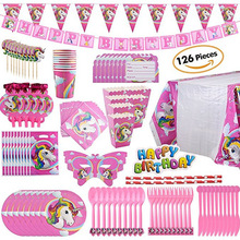 Unicorn birthday party decorations disposable tableware set balloon cups plates napkin kids supplies