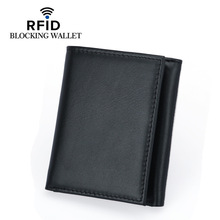 Men's 3-fold, multi-card anti-magnetic wallet European and American fashion first layer cowhide short wallet