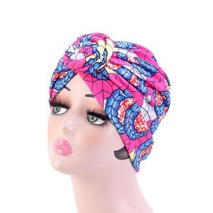 Image 4 - New Women african pattern Knotted flower Turban Muslim Turban Twist Knot India Hat Ladies Chemo Cap Bandanas Hair Accessories