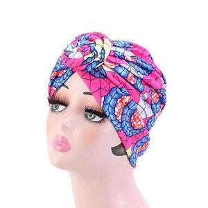 Image 4 - Nowe kobiety afrykański wzór wiązane Turban w kwiaty Turban muzułmański Twist Knot indie kapelusz panie czepek dla osób po chemioterapii bandany akcesoria do włosów