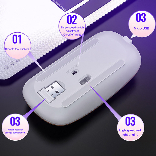 Bluetooth dual mode+2.4G rechargeable mouse Bluetooth 3.0+5.0 mute silent tablet game 2.4g glowing LED wireless mouse