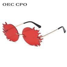Oec cpo новые круглые солнцезащитные очки без оправы женские