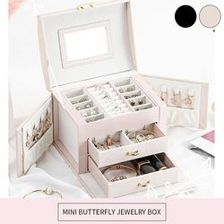 High Quality Jewelry Box Large Capacity Leather Storage Jewelry Box Earring Ring Necklace with Mirror Watch Jewelry Organizer