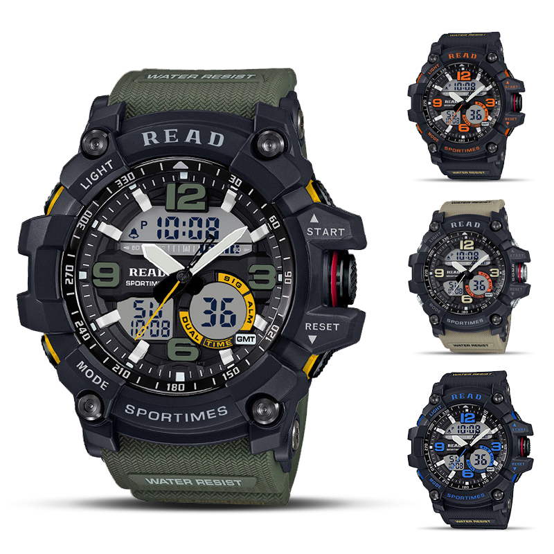 2020 READ Sport Watches For Men Waterproof Digital Watch LED Large Dail Luminous Clock Montre Homme Military Big Men Watches