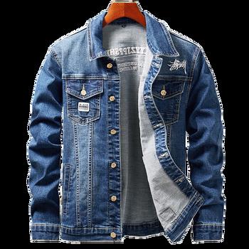 Embroidered Denim Jacket Men's Coats 2019 Fashion Men's Cotton Denim Jacket Men Lapel Long-Sleeved Denim Bomber Jacket Jackets