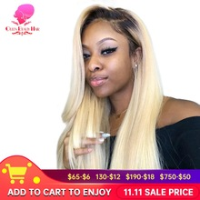 13x6 1B 613 בלונד Ombre צבע ברזילאי ישר פאה ארוך מראש קטף Glueless מלא תחרה מול שיער טבעי פאות עבור שחור נשים