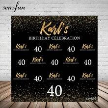 Sensfun czarny motyw szczęśliwy 40 urodziny tło imprezowe złota brokatowa biała fotografia tekstowa tło do zdjęć Studio Vinyl