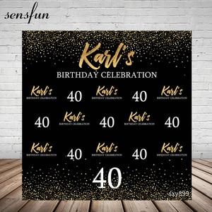 Image 1 - Sensfun siyah tema mutlu 40 doğum günü partisi zemin altın Glitter beyaz metin fotoğraf fotoğraf stüdyosu için arka planlar vinil