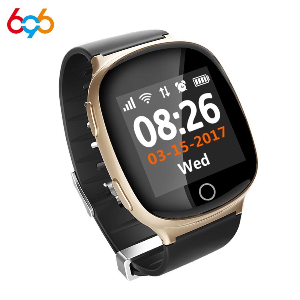 696 D100 Smart Heart Rate Watch GPS Tracking Watch Pedometer Sleep Monitor Voice Intercom SOS Fall-down Alarm Wifi Smart Watch