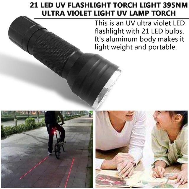 UV Ultra Violet 21 LED vtt vélo lumière vélo lampe de poche Mini vélo lumière torche lampe pour le cyclisme