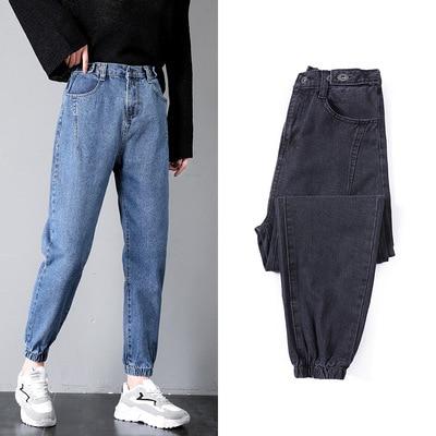 Elastic Waist Jeans Women's Spring And Autumn Capri Smell GIRL'S Pants Loose-Fit Slimming Radish Dad Pants Closing Beam Leg