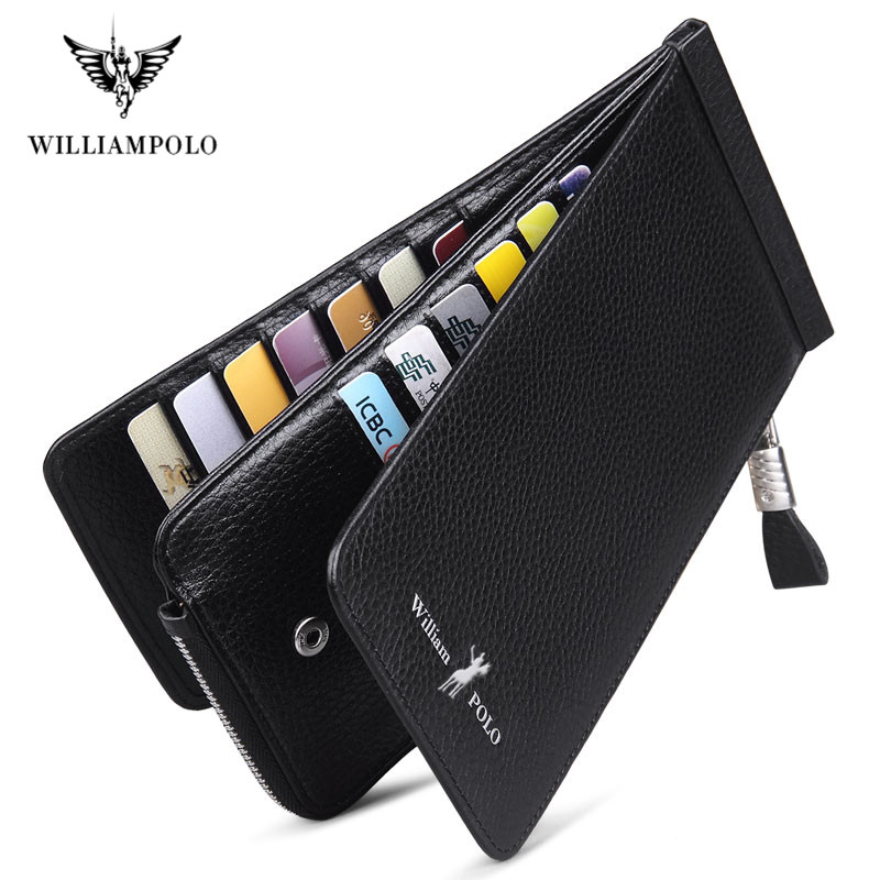 WilliamPolo Full-Grain Leather Men Cowskin Men Wallets Large Capacity Card Holder Wallet Coin Purse Genuine Leather Long Purse