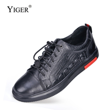 YIGER Sneakers Sports-Shoes Genuine-Leather Men's Loafers Spring Soft-Bottom Black Breathable