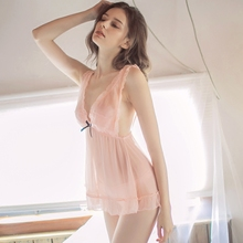 Hoyyezen new sexy sweet little chest pajamas lace female transparent tulle strap nightdress suit
