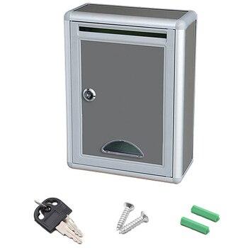 Vintage Aluminum Alloy Lockable Secure Mail Letter Post Box Mailbox Post Box for Home Garden Ornament Decor