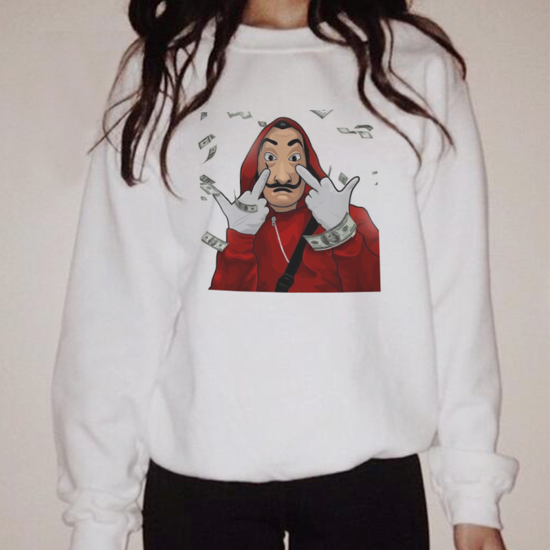 2019 Women Sweatshirt Dali Mask Money Heist The House Of Paper  La Casa De Papel Hoody Vogue Casual Long Sleeve Autumn Hoodies