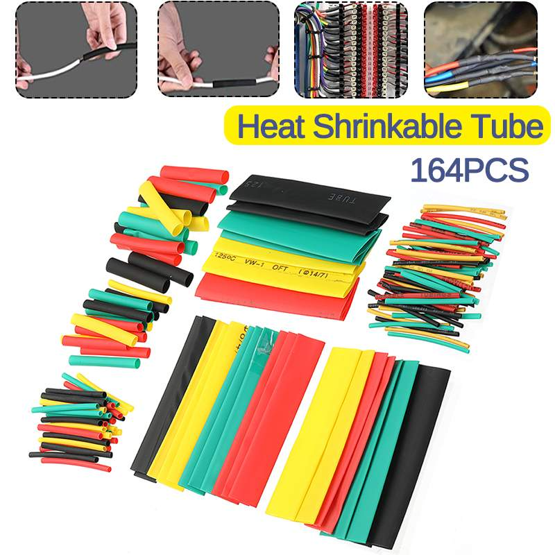 164pcs PE Heat Shrink Tube Assortment Wrap Electrical Insulation Cable Tubing Polyolefin Cable Insulated Sleeving Tubing Set