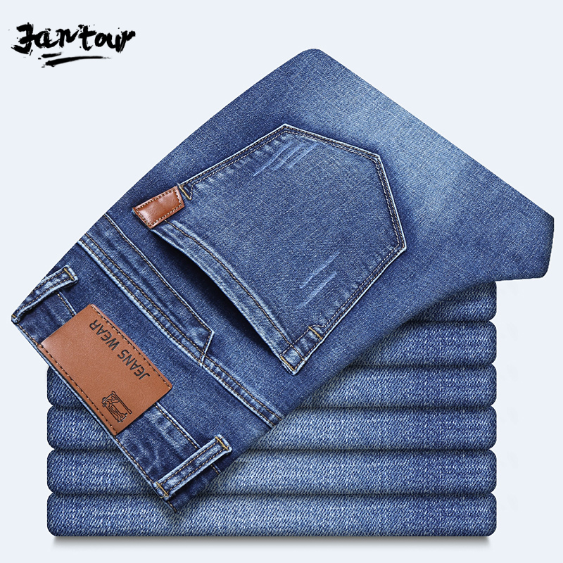 2019 New Men Cotton Straight Classic Jeans Spring Autumn Male Denim Pants Hombre Overalls Designer Men Jean High Quality Homme
