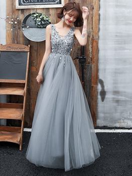 V-Back Beading Evening Dress A-line Tulle Sequins Prom Dress Sleeveless Long Party Dress Silver Grey Homecoming Dress Champagne charming a line sweetheart sleeveless beading prom dress