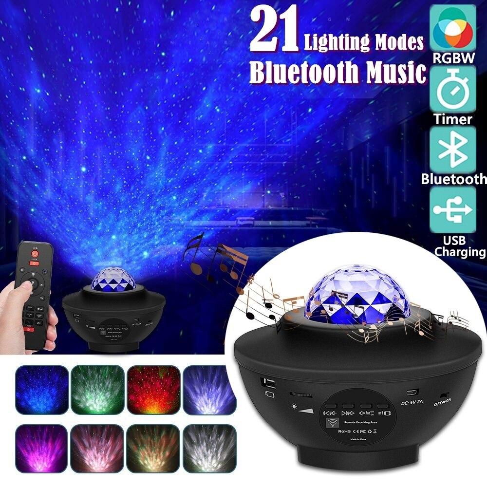 Светодиодный Звездный проектор ночной Светильник Galaxy Nova проектор Звездная Ночная лампа океанское небо с музыкой Bluetooth динамик дистанционн...