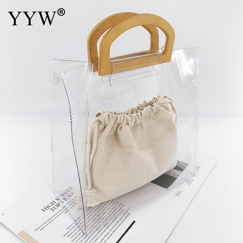 2pcs Pvc Transparent Handbag Different Size Jelly Clear Totes For Women 2019 Fashion Summer Beach Bag Open Top Handle Hand Bags in Clutches from Luggage Bags