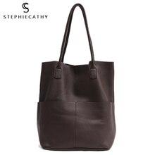 SC Brand Women Genuine Leather Shoulder Bags Causal Vintage High Quality Soft Cowhide Handbag Shopping Bucket Large Hobos Tote