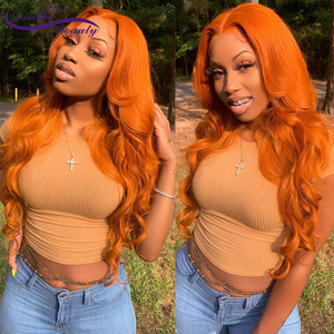 Orange Ginger Color 13x6 Lace Front Wigs Pre Plucked Brazilian Wavy Human Hair Wigs Glueless 180% Density Remy Lace Frontal Wigs(China)