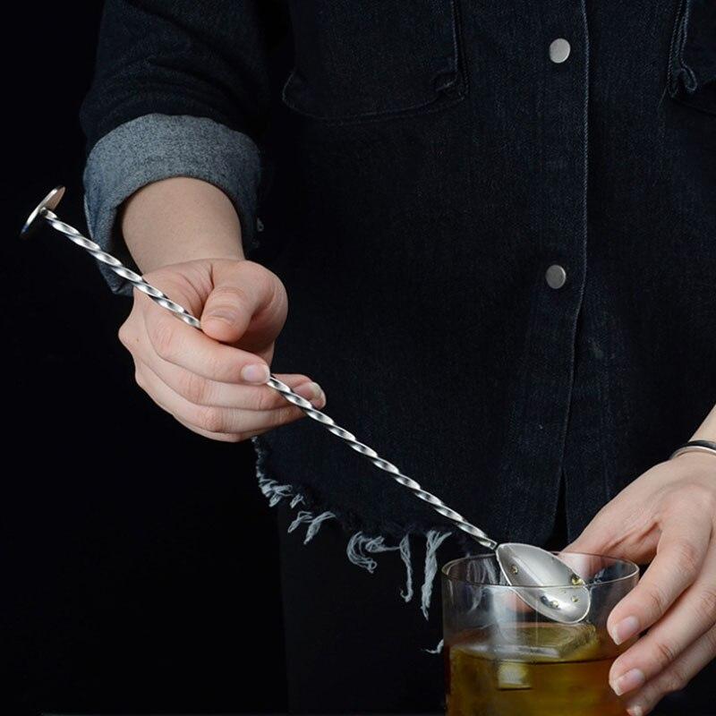 Коктейльная ложка для коктейлей, прочная двойная головка, кухонные принадлежности, спиральная форма, нержавеющая сталь, стержень для перем...