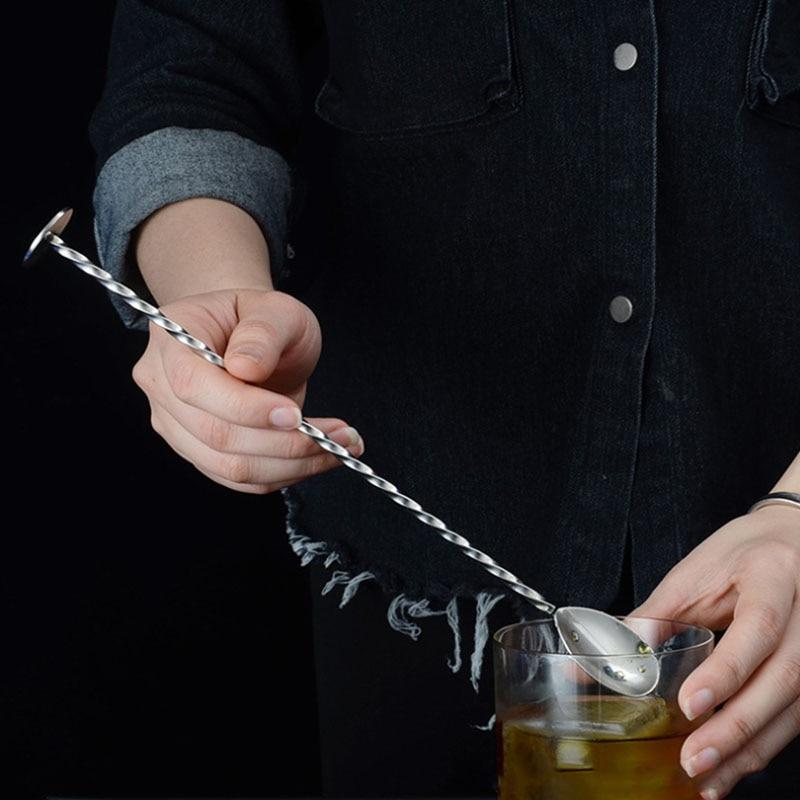 Colher coquetel Cocktail Bar Durable Dupla Cabeça Agitação Rod Bar Aparelhos de Aço Inoxidável Utensílios de Cozinha Forma de Espiral