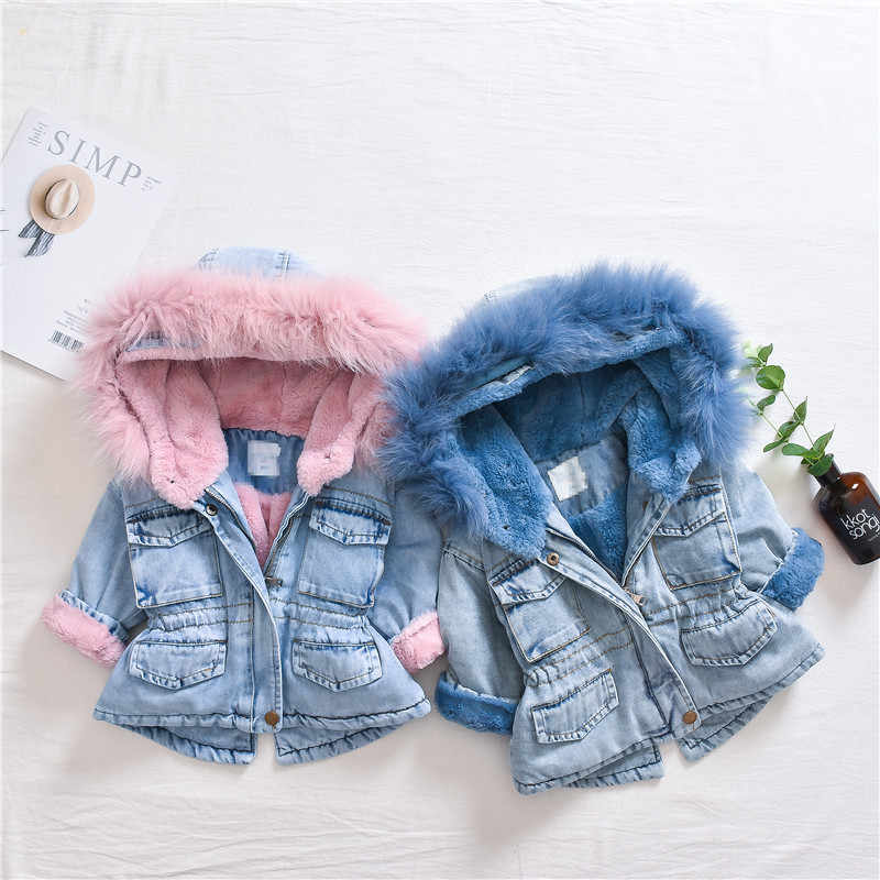 2019 new winter item girl and boy thick denim coat velvet jeans coat kids warm outwear 1-5 years
