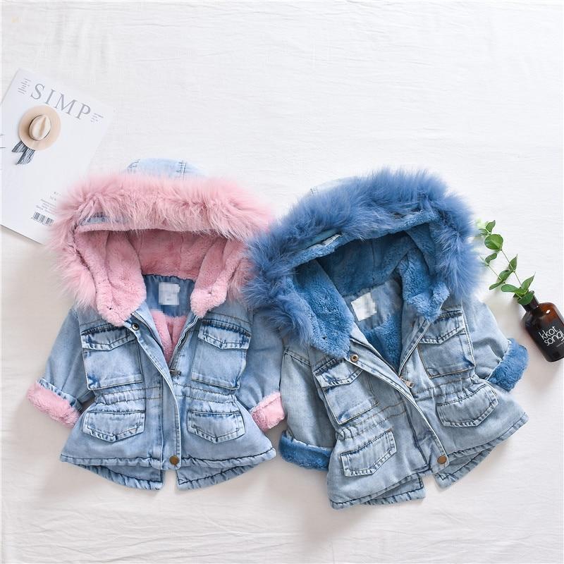 2019 New Winter Item Girl And Boy Thick Denim Coat Velvet Jeans Coat Kids Warm Outwear 1-5 Years