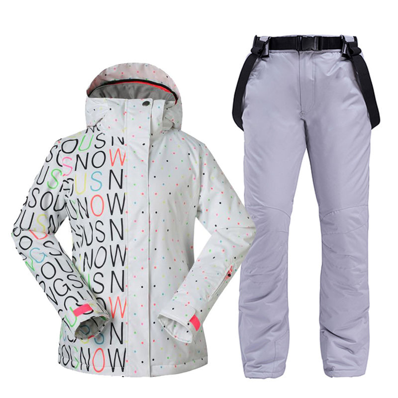 White Women's Snow Suit Outdoor Sports Wear Snowboarding Clothing Sets Waterproof Windproof Costume Snow Jacket + Bibs Ski Pant