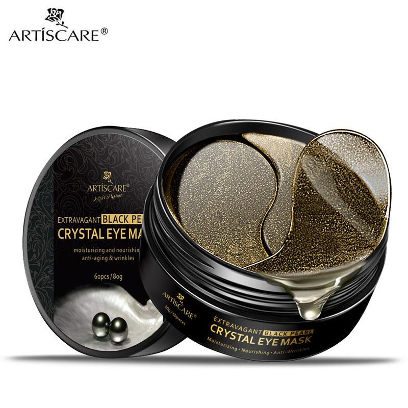 ARTISCARE Black Pearl Eye Masks 60pcs Remover Dark Circle Anti Wrinkle Collagen Eye Patches Moisturizing Under Eye Sleeping Mask