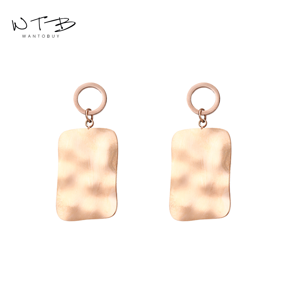 Wantobuy Trendy Temperament 316L Stainless Steel Rose Gold Dangle Earrings Fashion Geometric for Women Girls Oorbellen