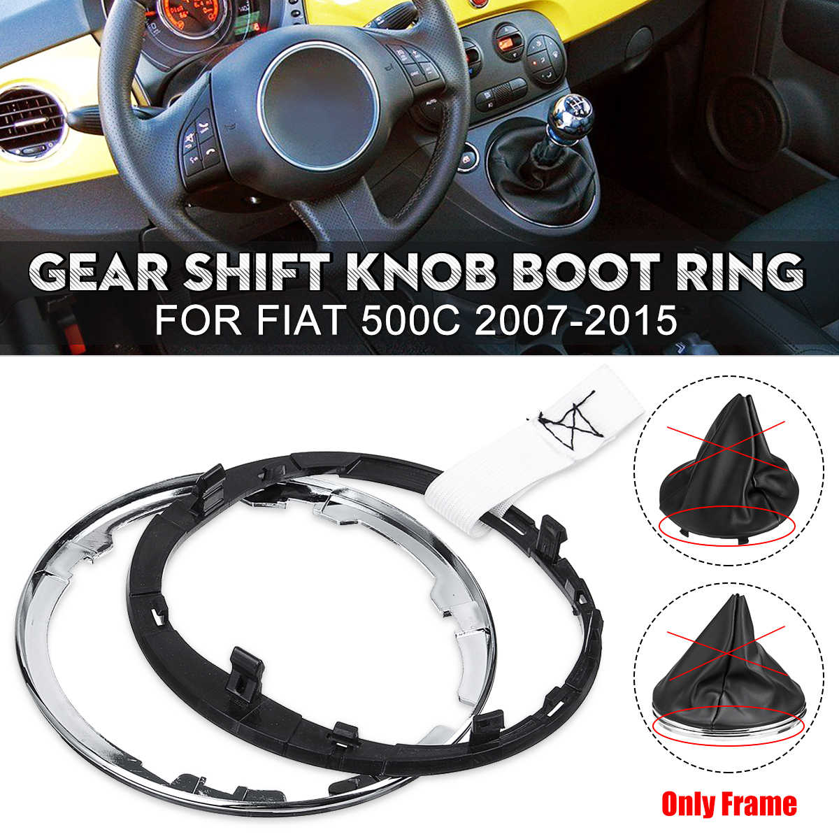 OutdoorKing Manual Gear Shift Knob Gaiter Boot Cover Lever Shifter Collar PU Leather For Fiat 500 500C 2007-2013 //for PANDA 2003-2012 Gear Shift Knob Gear Stick Gear Shift Head