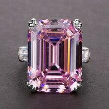Простое блестящее большое прямоугольное циркониевое кольцо для женщин с белыми/розовыми камнями Inaly благородное Свадебное обручальное кол...