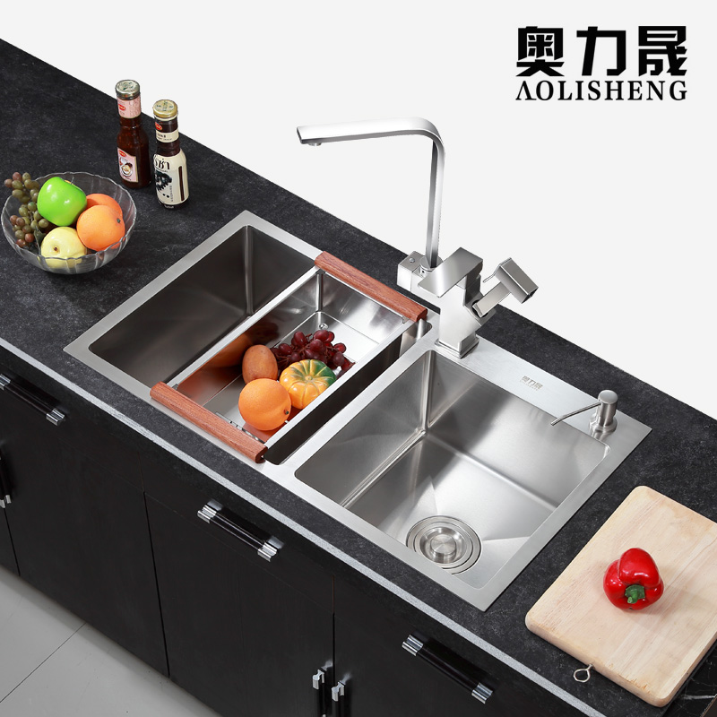 Kitchen sink double slot manual 304 stainless steel seamless welding sink kitchen single sink