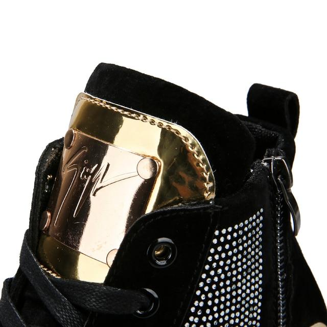 Zapatillas de deporte de alta calidad para hombre, zapatos planos con plataforma de cristal y lentejuelas, brillantes, dorados, con cordones, AC-2, 2020 4