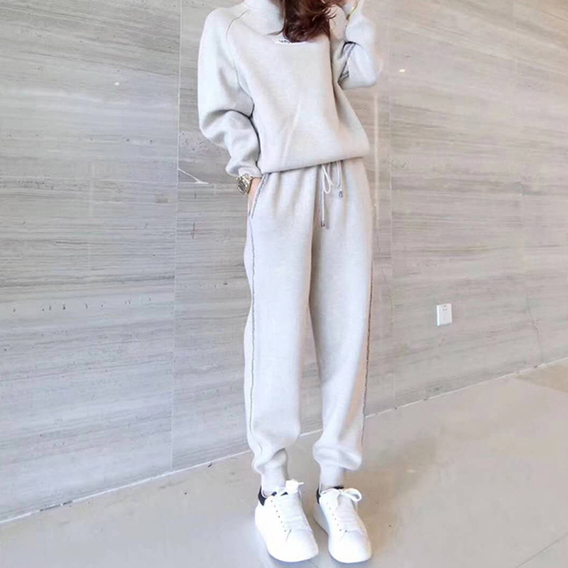 2019 Winter Thicken Women Knitted Two Piece Sets Outfits Women Sweater Pullover And Harem Pants Suits Casual Fashion 2 Pcs Sets 33