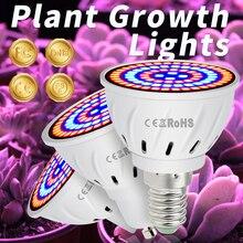 E27 светодиодный завод расти свет E14 полный спектр лампы GU10 фито лампы MR16 48 60 80leds гидропоники 220В В22 2835 роста
