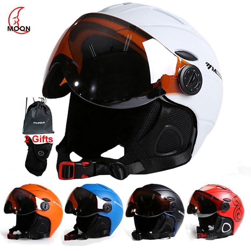 Профессиональный полузакрытый лыжный шлем MOON, спортивные мужские и женские шлемы для сноуборда и снега с защитными очками