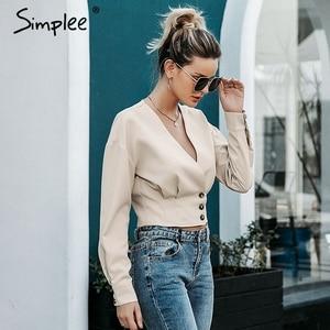Image 3 - Simplee Elegant v neck women blouse shirt Long sleeve button female top shirt Autumn casual streetwear ladies blouse shirt 2019
