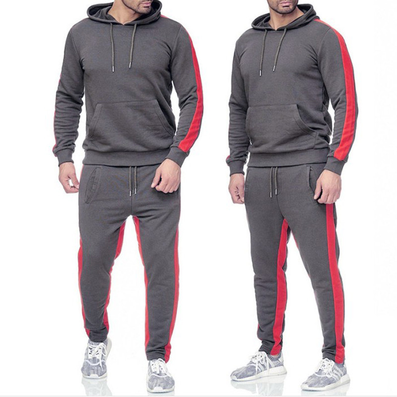 2019 New Men Patckwork Long Sleeve Tracksuit Set Autumn Winter Casual Thick Fleece Hooded Hoodies 2PCS Gym Sporting Clothes Male
