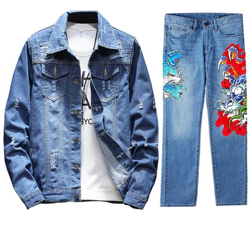 Men's Retro Destroyed Coat Jean Denim Jacket Outerwear Pants Trousers Set FISH Coat Blue 2PC