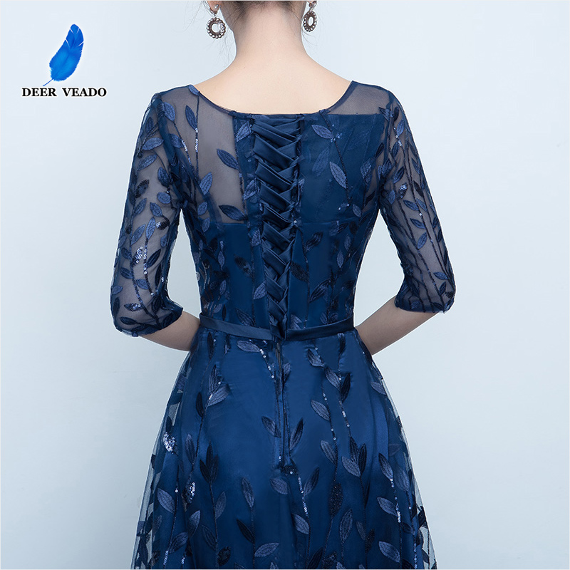 DEERVEADO Long Evening Dress 2019 Hot Sale Scoop Neck Half Sleeves Navy Blue Lace Up Formal Evening Dresses Robe De Soiree M212