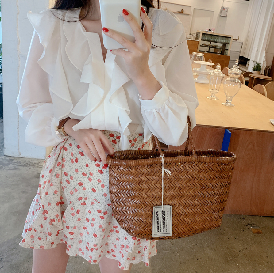 Ha977efd3eb944d3fabf821f35e1281c16 - Spring / Autumn V-Neck Long Sleeves Ruffles Loose Blouse