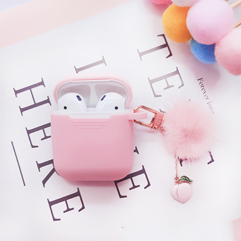 Cute Korean Mink Hair Ball Silicone Case For Apple Airpods Case Accessories Bluetooth Earphone Protective Cover Peach Key Ring