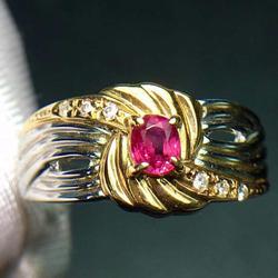 Женское кольцо из 18-каратного золота с красным Рубином 100% карата