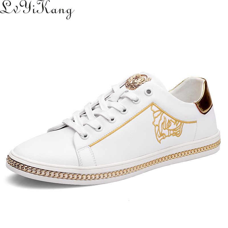 2019 erkekler rahat ayakkabılar nefes marka hafif erkek moda nakış Sneakers sonbahar kalın BottomTrend Flats ayakkabı Zapatos Hombre